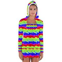 Colorful Abstract Collage Print Women s Long Sleeve Hooded T-shirt