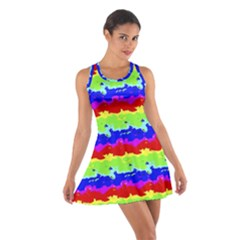 Colorful Abstract Collage Print Racerback Dresses