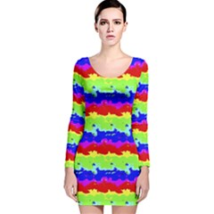 Colorful Abstract Collage Print Long Sleeve Velvet Bodycon Dress