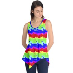 Colorful Abstract Collage Print Sleeveless Tunic