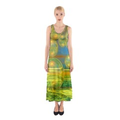 Golden Days, Abstract Yellow Azure Tranquility Full Print Maxi Dress