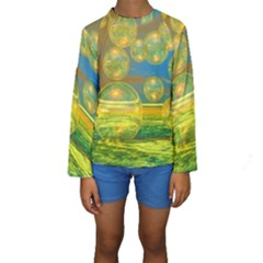 Golden Days, Abstract Yellow Azure Tranquility Kid s Long Sleeve Swimwear