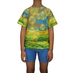 Golden Days, Abstract Yellow Azure Tranquility Kid s Short Sleeve Swimwear