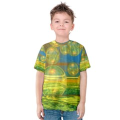 Golden Days, Abstract Yellow Azure Tranquility Kid s Cotton Tee