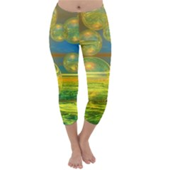 Golden Days, Abstract Yellow Azure Tranquility Capri Winter Leggings