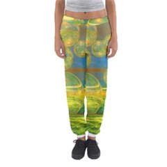 Golden Days, Abstract Yellow Azure Tranquility Women s Jogger Sweatpants