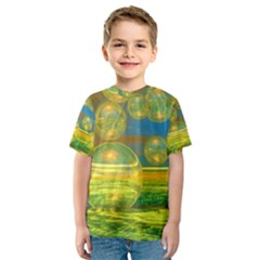 Golden Days, Abstract Yellow Azure Tranquility Kid s Sport Mesh Tee