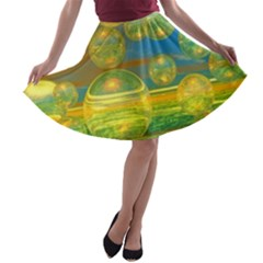 Golden Days, Abstract Yellow Azure Tranquility A-line Skater Skirt