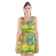 Golden Days, Abstract Yellow Azure Tranquility Scoop Neck Skater Dress