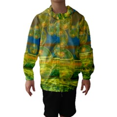 Golden Days, Abstract Yellow Azure Tranquility Hooded Wind Breaker (kids)
