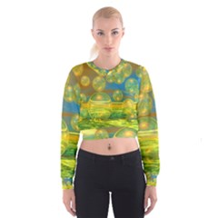Golden Days, Abstract Yellow Azure Tranquility Women s Cropped Sweatshirt