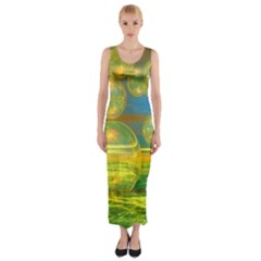 Golden Days, Abstract Yellow Azure Tranquility Fitted Maxi Dress