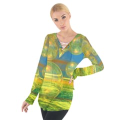 Golden Days, Abstract Yellow Azure Tranquility Women s Tie Up Tee