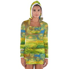 Golden Days, Abstract Yellow Azure Tranquility Women s Long Sleeve Hooded T Shirt