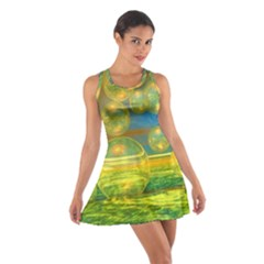 Golden Days, Abstract Yellow Azure Tranquility Racerback Dresses