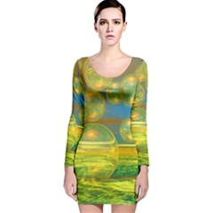 Golden Days, Abstract Yellow Azure Tranquility Long Sleeve Velvet Bodycon Dress