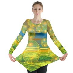 Golden Days, Abstract Yellow Azure Tranquility Long Sleeve Tunic