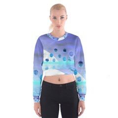 Moonlight Wonder, Abstract Journey To The Unknown Women s Cropped Sweatshirt