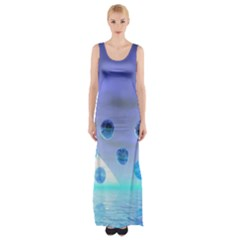 Moonlight Wonder, Abstract Journey To The Unknown Maxi Thigh Split Dress