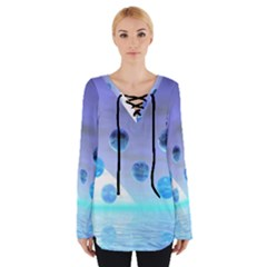 Moonlight Wonder, Abstract Journey To The Unknown Women s Tie Up Tee