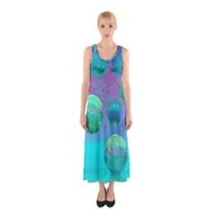Ocean Dreams, Abstract Aqua Violet Ocean Fantasy Full Print Maxi Dress