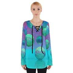 Ocean Dreams, Abstract Aqua Violet Ocean Fantasy Women s Tie Up Tee