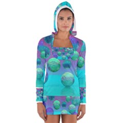 Ocean Dreams, Abstract Aqua Violet Ocean Fantasy Women s Long Sleeve Hooded T-shirt