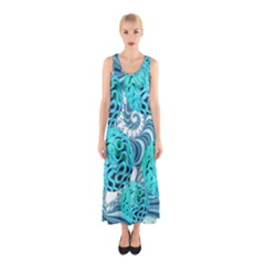 Teal Sea Forest, Abstract Underwater Ocean Full Print Maxi Dress