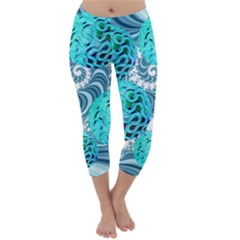 Teal Sea Forest, Abstract Underwater Ocean Capri Winter Leggings