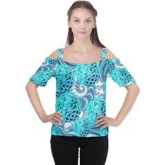 Teal Sea Forest, Abstract Underwater Ocean Women s Cutout Shoulder Tee