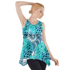 Teal Sea Forest, Abstract Underwater Ocean Side Drop Tank Tunic