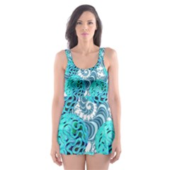 Teal Sea Forest, Abstract Underwater Ocean Skater Dress Swimsuit