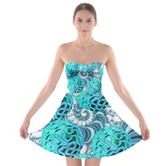 Teal Sea Forest, Abstract Underwater Ocean Strapless Dresses