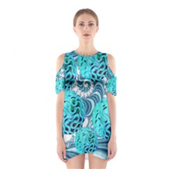 Teal Sea Forest, Abstract Underwater Ocean Cutout Shoulder Dress