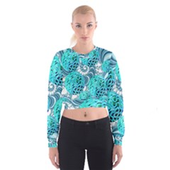 Teal Sea Forest, Abstract Underwater Ocean Women s Cropped Sweatshirt