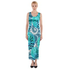 Teal Sea Forest, Abstract Underwater Ocean Fitted Maxi Dress