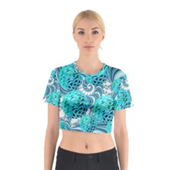 Teal Sea Forest, Abstract Underwater Ocean Cotton Crop Top