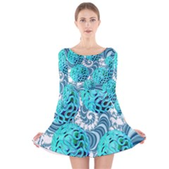 Teal Sea Forest, Abstract Underwater Ocean Long Sleeve Velvet Skater Dress