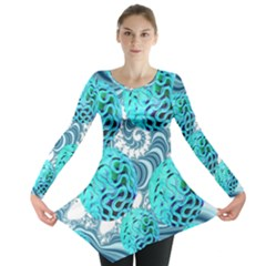 Teal Sea Forest, Abstract Underwater Ocean Long Sleeve Tunic