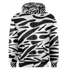 Zebra Stripes Skin Pattern Black And White Men s Zipper Hoodie