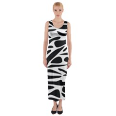 Zebra Stripes Skin Pattern Black And White Fitted Maxi Dress