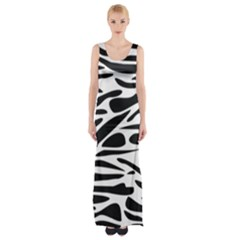 Zebra Stripes Skin Pattern Black And White Maxi Thigh Split Dress