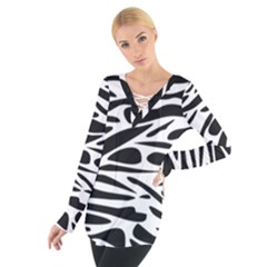 Zebra Stripes Skin Pattern Black And White Women s Tie Up Tee