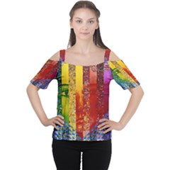 Conundrum I, Abstract Rainbow Woman Goddess  Women s Cutout Shoulder Tee