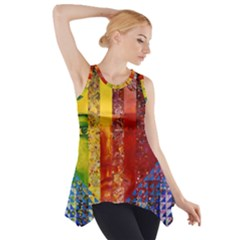 Conundrum I, Abstract Rainbow Woman Goddess  Side Drop Tank Tunic