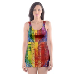 Conundrum I, Abstract Rainbow Woman Goddess  Skater Dress Swimsuit