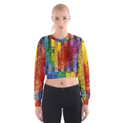 Conundrum I, Abstract Rainbow Woman Goddess  Women s Cropped Sweatshirt
