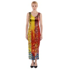 Conundrum I, Abstract Rainbow Woman Goddess  Fitted Maxi Dress
