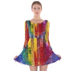 Conundrum I, Abstract Rainbow Woman Goddess  Long Sleeve Velvet Skater Dress