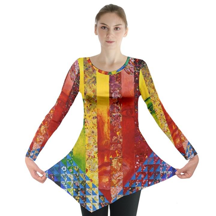 Conundrum I, Abstract Rainbow Woman Goddess  Long Sleeve Tunic